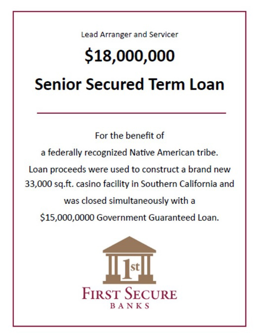 Senior Secured Term Loan - $18,000,000